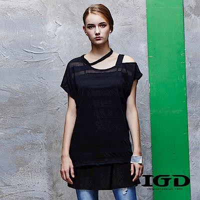 IGD英格麗 直條紋不規則剪裁領口露肩網布上衣