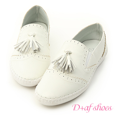 D+AF 樂活主打.小流蘇超軟縫線底小白鞋*白