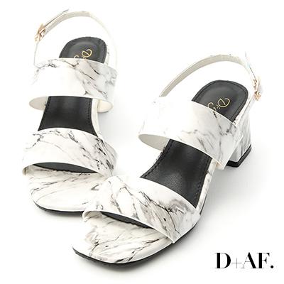 D+AF 話題單品.大理石紋漆皮一字涼鞋*白