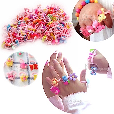 日韓 兒童 可愛卡通造型戒指 多款隨機 kiret-超值10入