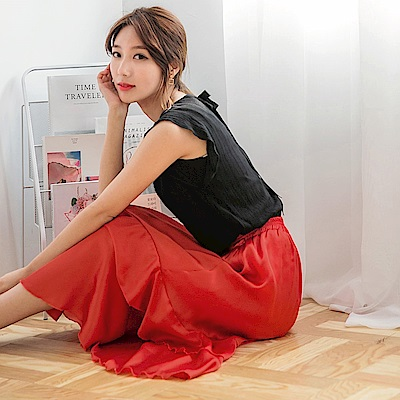 腰圍鬆緊飄逸荷葉層次素色光澤感緞面長裙.2色-OB嚴選