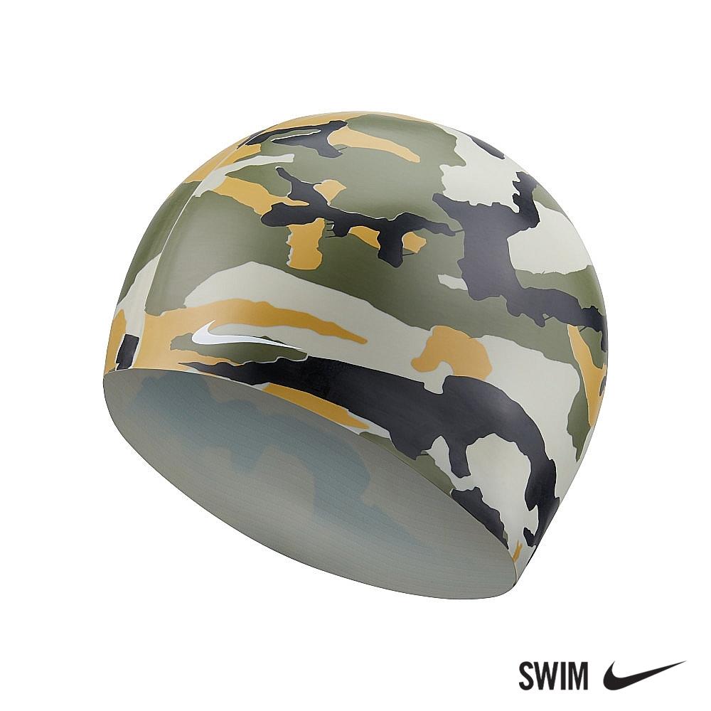 NIKE 男女 迷彩矽膠泳帽 運動 機能 橄欖綠 NESSA202-211