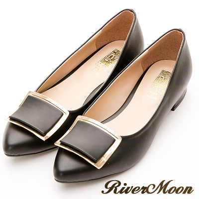 River&Moon跟鞋-台灣製素雅方金扣低跟尖頭包鞋-黑