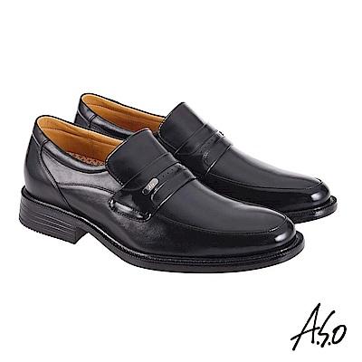 A.S.O機能休閒 萬步健康鞋 直套款商務休閒鞋 黑