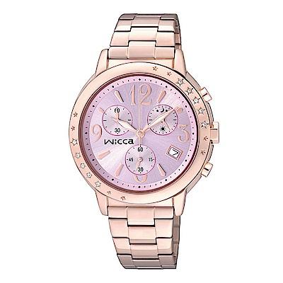 CITIZEN WICCA晶鑽三眼計時手錶(BM1-121-91)-粉X玫瑰金/35mm