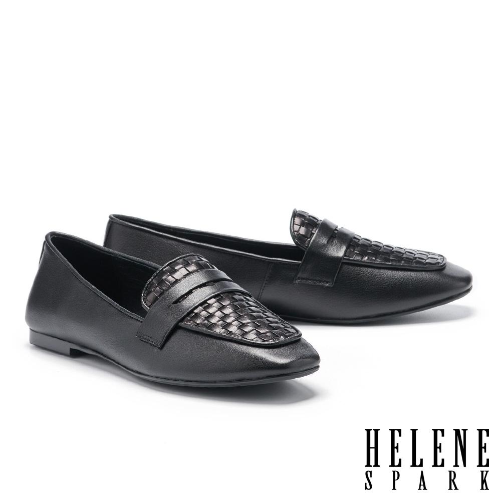平底鞋 HELENE SPARK 簡約質感編織全真皮樂福平底鞋-黑