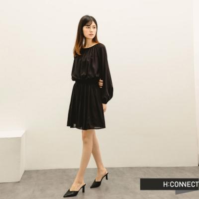 H:CONNECT 韓國品牌 女裝 -質感打摺縮腰短洋裝-黑色