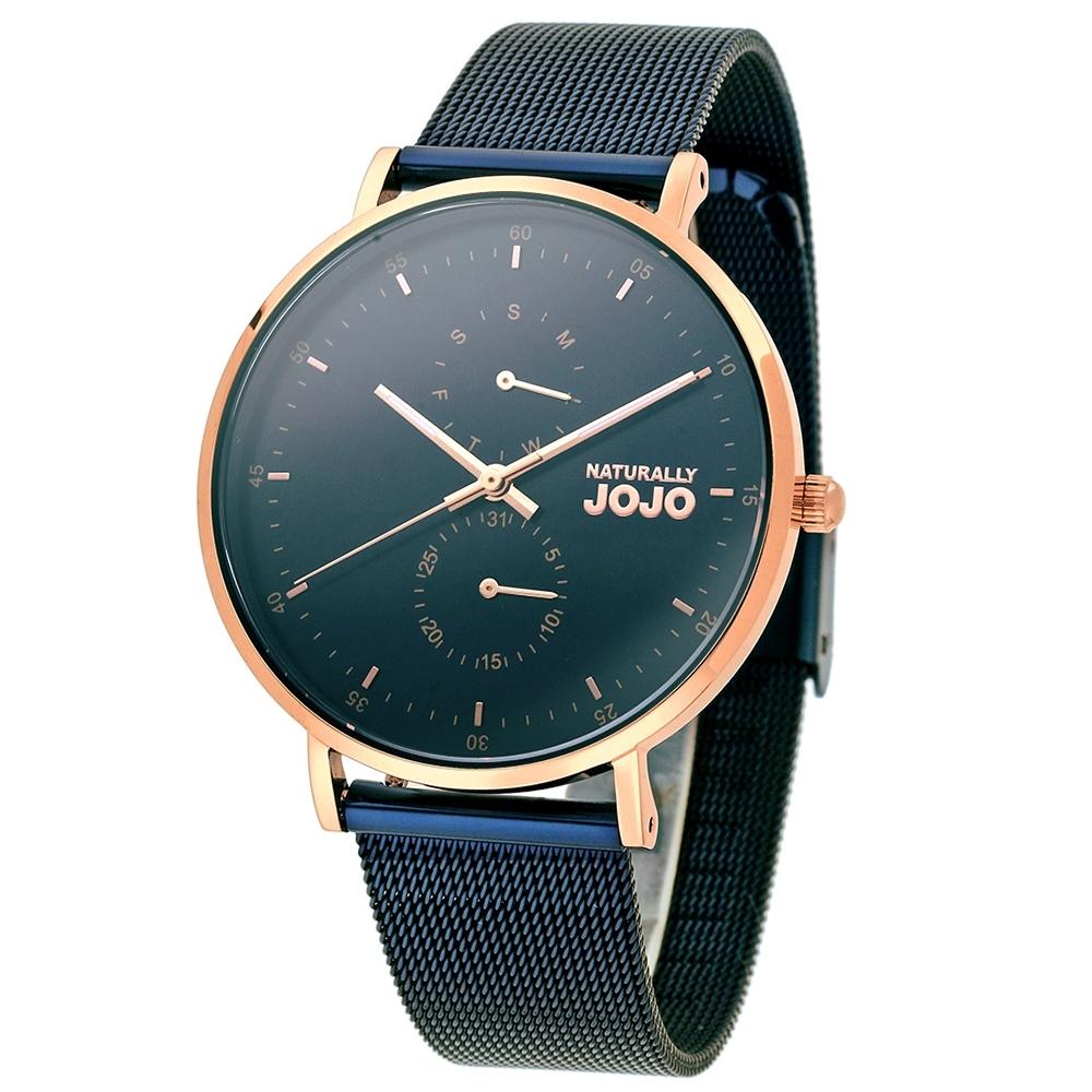 NATURALLY JOJO 極致簡約時尚腕錶-寶藍色/38mm-(禮盒組)