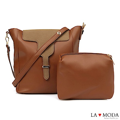La Moda 極簡異材質拼接設計大容量肩背斜背子母包(淺咖)