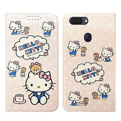 Hello Kitty貓 OPPO R15 粉嫩系列彩繪磁力皮套(小熊)