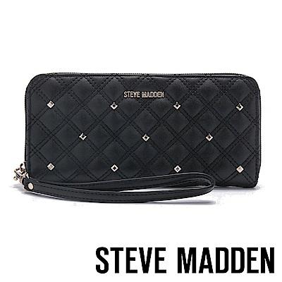 STEVE MADDEN-BEVER-W-經典菱格壓紋百搭長夾-黑色