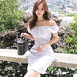 DABI 韓版氣質一字領復古系帶修身收腰時尚短袖洋裝