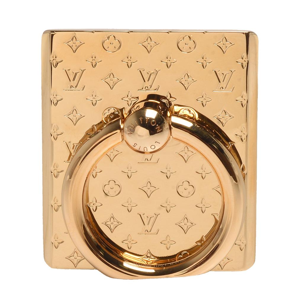 LV M64868經典Monogram雕花金屬手機扣環(金)