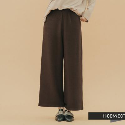 H:CONNECT 韓國品牌 女裝-質感素面鬆緊寬褲-棕