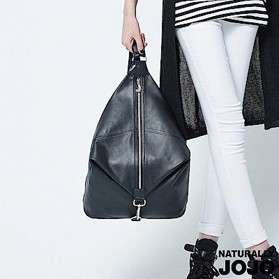 【NATURALLY JOJO】頂級真皮造型後背包(黑)