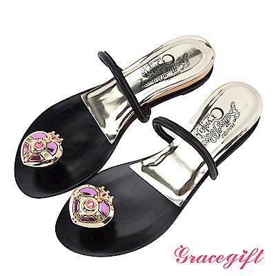 Grace gift-美少女戰士月光心鑽夾腳條帶拖鞋 黑