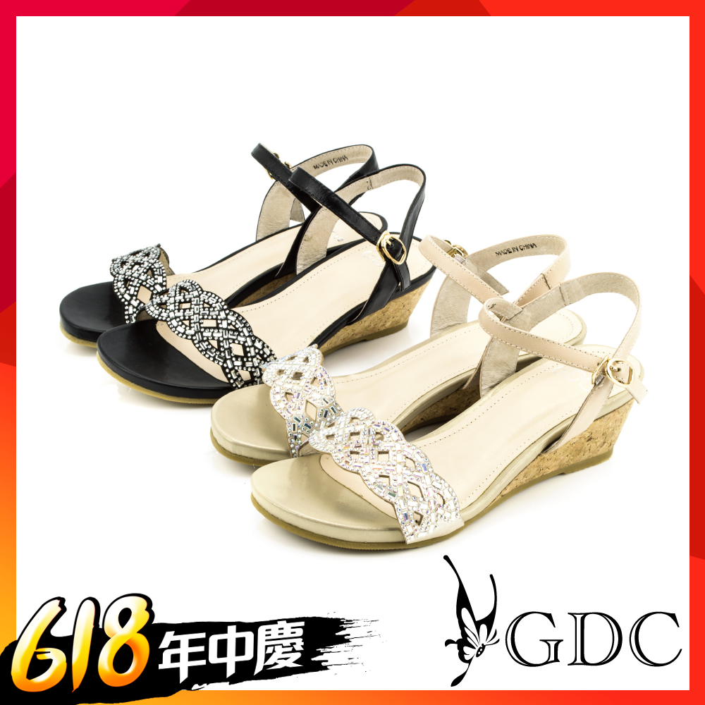【時時樂限定】GDC - 水鑽交叉簍空軟木跟楔型厚底一字涼拖鞋 (共兩色)