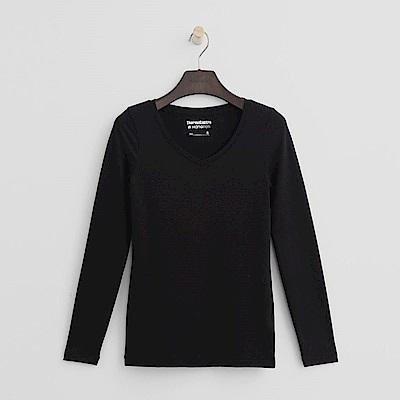 Hang Ten - 女裝-ThermoContro恆溫多功能智慧暖溫V領上衣-黑色