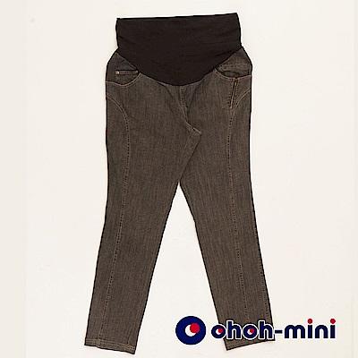 【ohoh-mini 孕婦裝】搖滾巨星拉鍊窄管孕婦牛仔褲