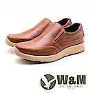 W&M 真皮彈性防滑休閒鞋 男鞋 - 橘棕(另有黑)