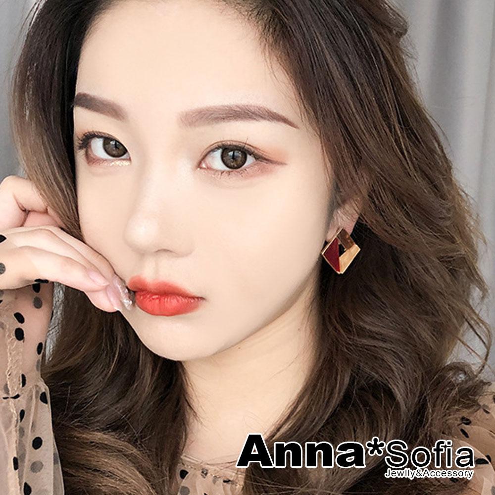 【3件5折】AnnaSofia 韓流絢光色塊 耳針耳環(方塊-紅米咖系) @ Y!購物
