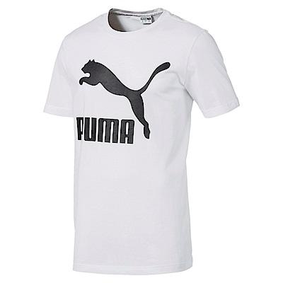 PUMA-男性流行系列經典Logo短袖T恤-白色-歐規