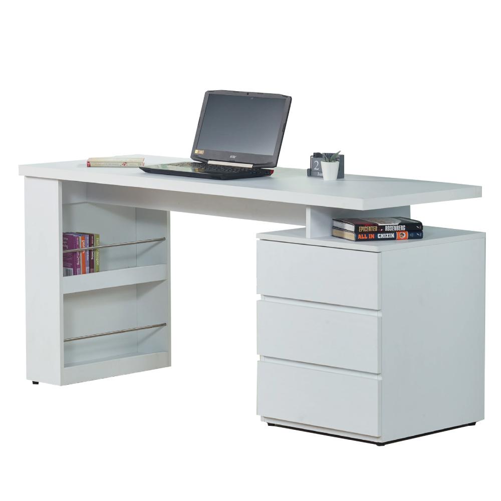 文創集 波切特時尚白5尺三抽書桌/電腦桌-150x60x76cm免組