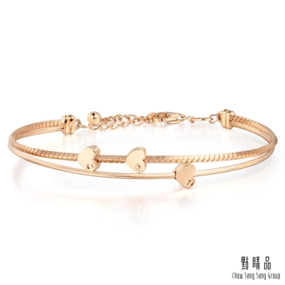 點睛品 Wrist Play 18K玫瑰金 甜蜜愛心雙環設計手鍊