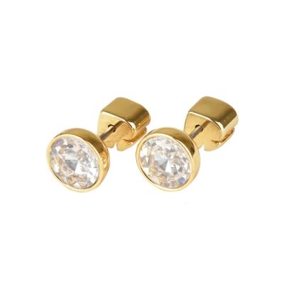kate spade 黑桃LOGO簡約設計鑽鑲飾穿式耳環(金x白)