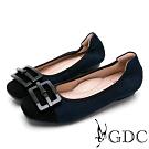 GDC-真皮磨砂優雅飾釦基本素色平底包鞋-藍色
