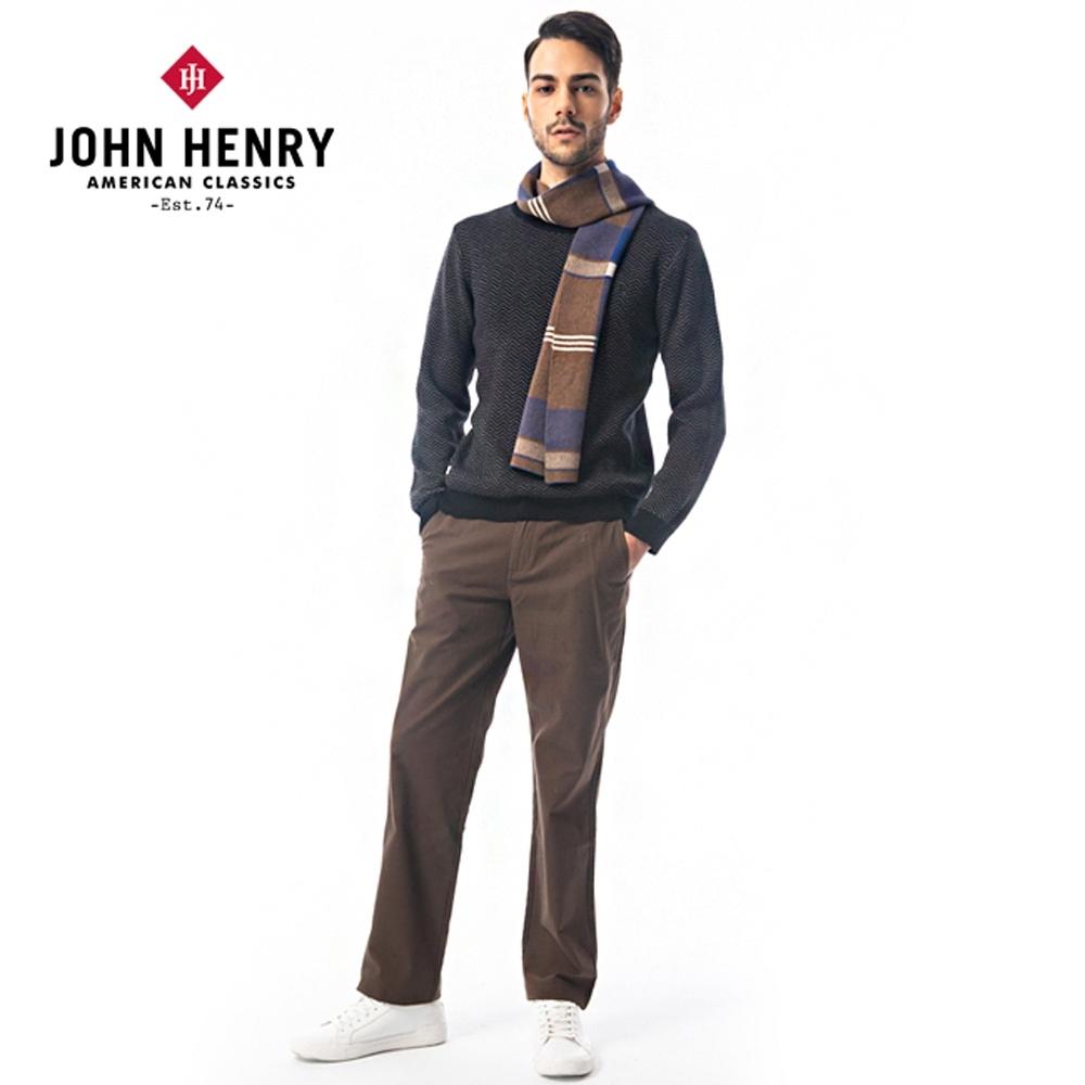 【JOHN HENRY】鋸齒線條設計圓領針織-二色選