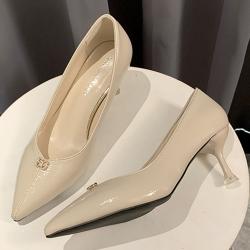 KEITH-WILL時尚鞋館 韓國設計尋花問柳水鑽典雅細跟鞋-米