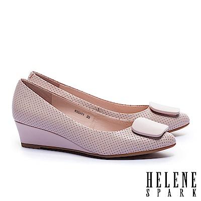 高跟鞋 HELENE SPARK 簡約素雅方釦全真皮楔型高跟鞋-粉