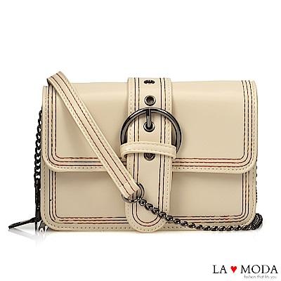 La Moda 質感經典熱銷大釦百搭鍊條方包(米白)