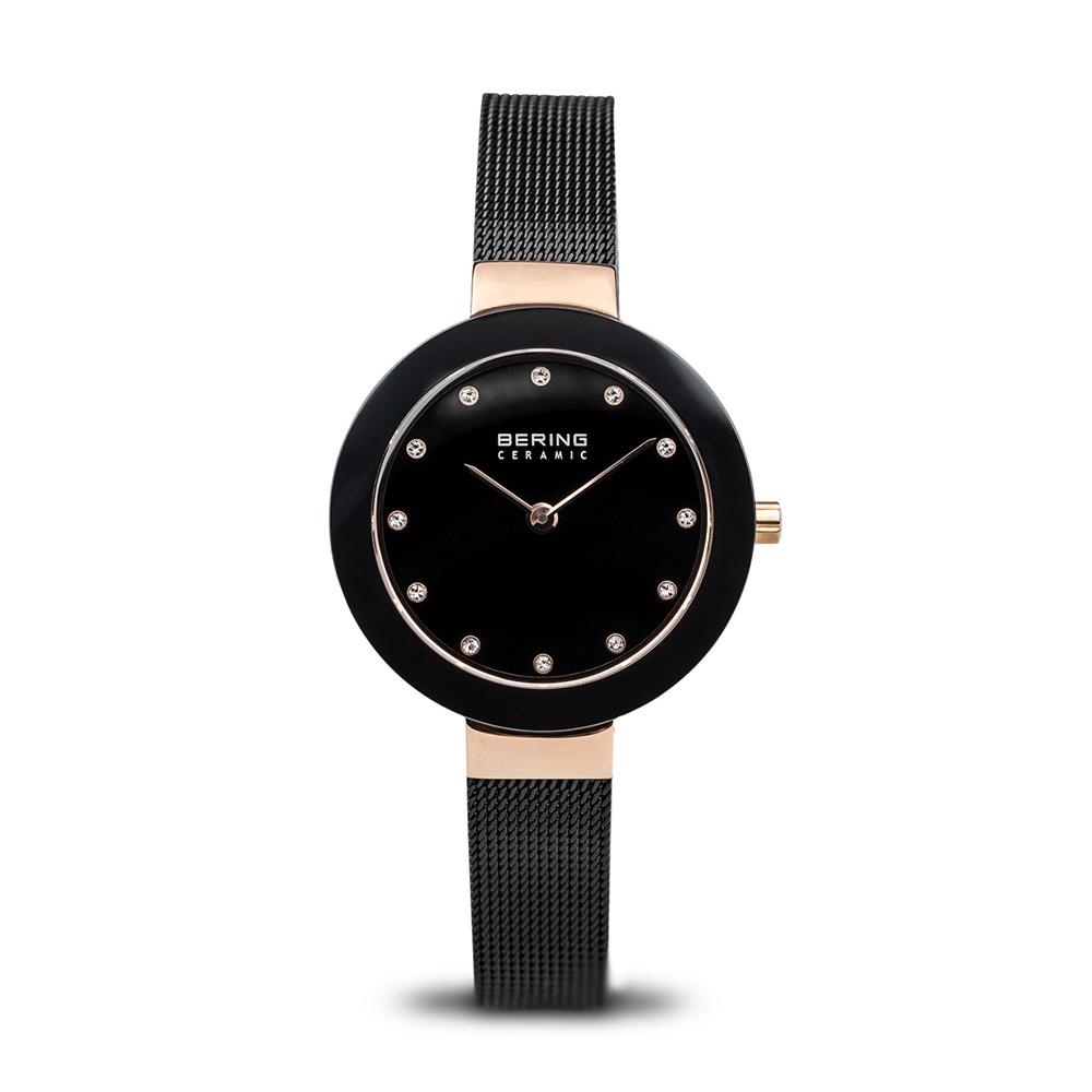 BERING 丹麥精品手錶 晶鑽刻度米蘭帶陶瓷錶面 藍寶石鏡面 玫瑰金x黑29mm @ Y!購物