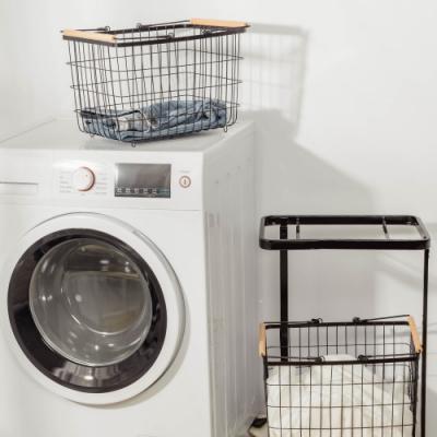 樂嫚妮 雙提籃方型洗衣籃收納車-黑