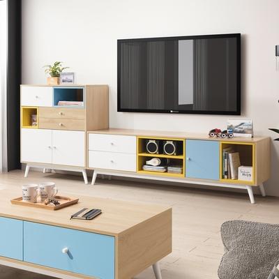D&T 德泰傢俱 Asa北歐風-藍+白+黃拼色8尺L型長櫃組 寬80×深40×高95cm +寬160×深40×高51cm
