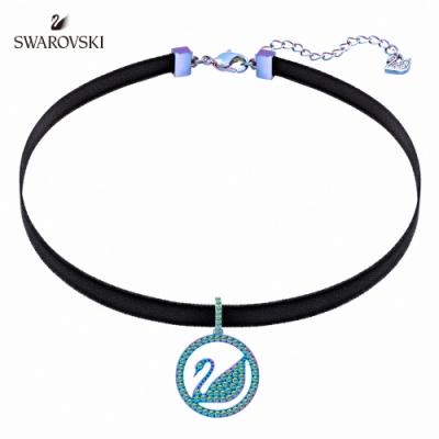施華洛世奇 Pop Swan 丁香紫色圓形天鵝吊牌頸鏈