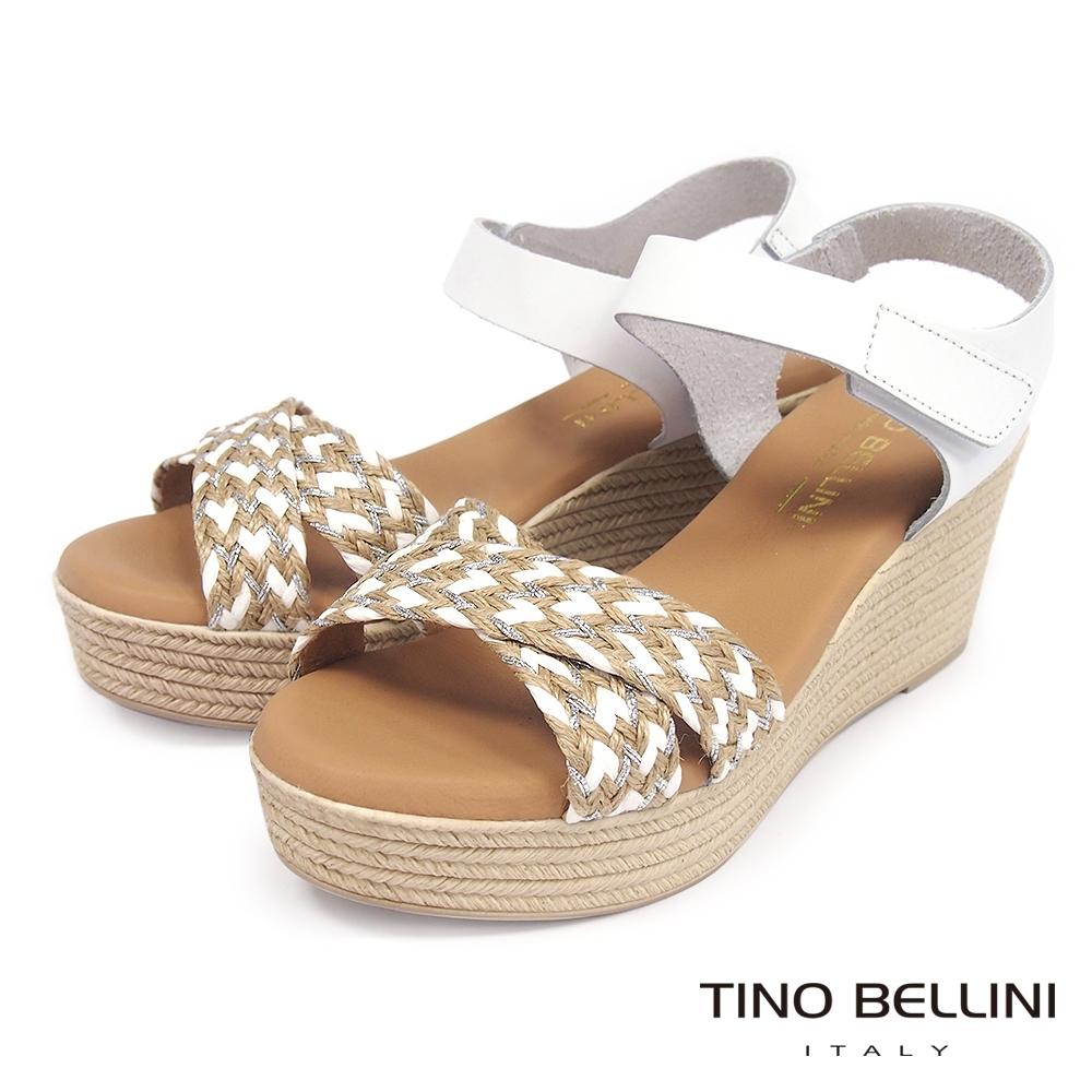 Tino Bellini 西班牙進口3色編織交叉楔型涼鞋-米白