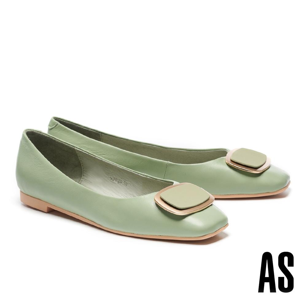 低跟鞋 AS 金屬風雙色橢圓方釦全真皮方頭低跟鞋-綠
