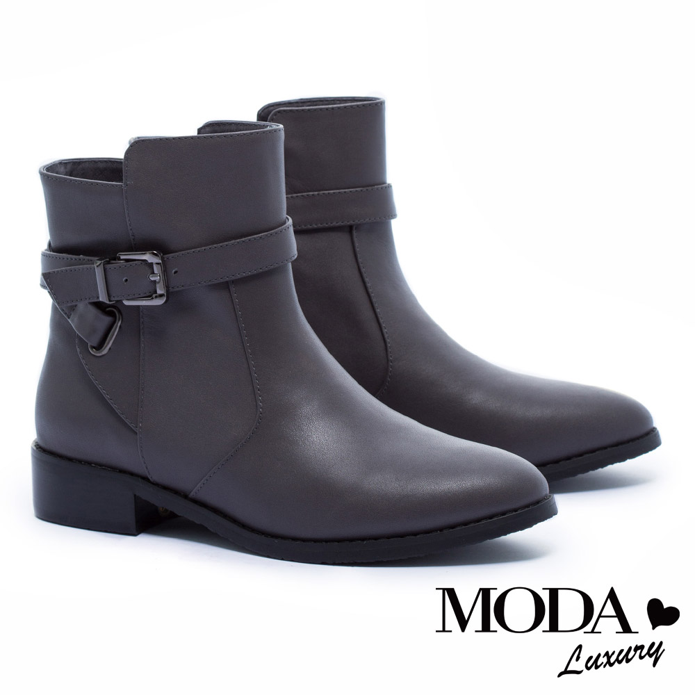短靴 MODA Luxury 經典不敗簡約單釦環牛皮低跟短靴-灰
