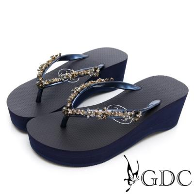 GDC-夏日彩鑽休閒必備微厚底夾腳拖-藍色