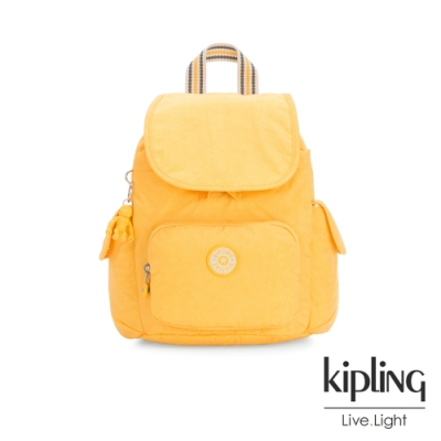 Kipling 冒險活力黃拉鍊掀蓋後背包-CITY PACK MINI
