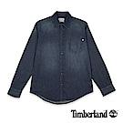 Timberland 男款水洗深藍色長袖丹寧襯衫|A1NJZ