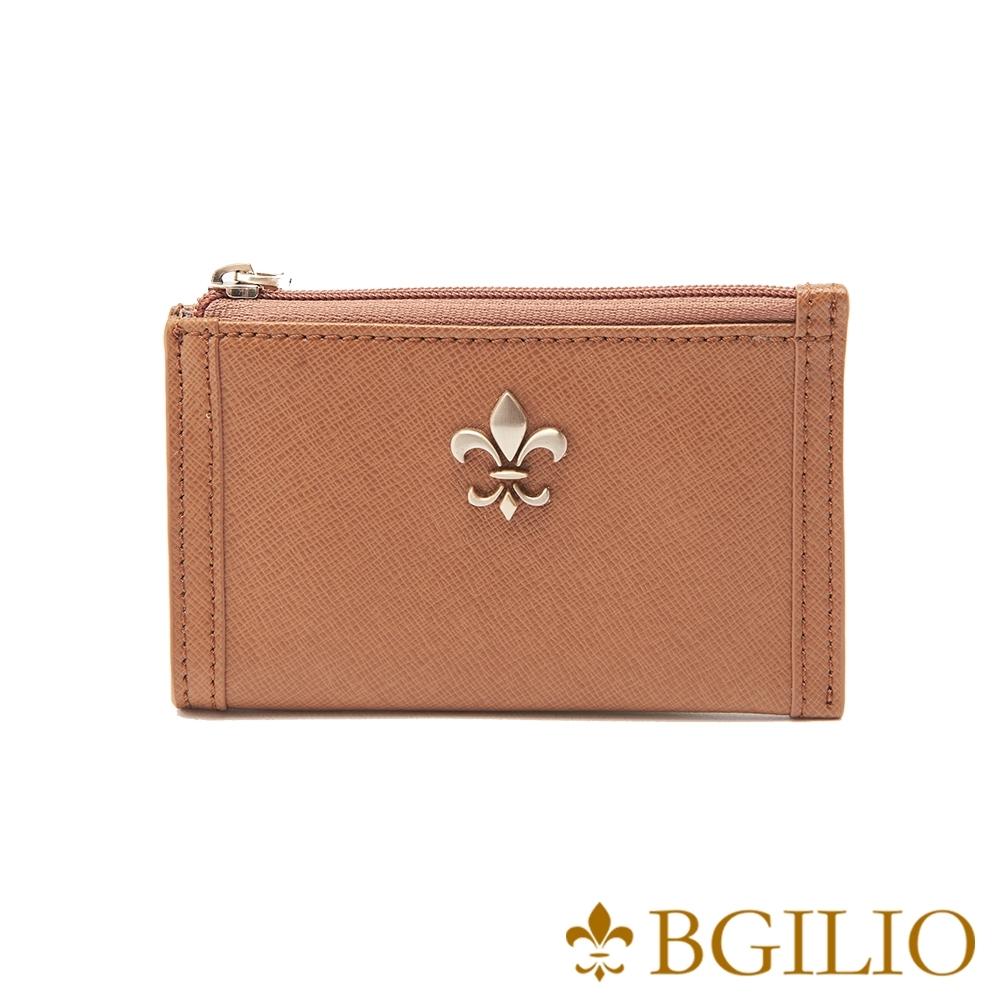 義大利BGilio-十字紋牛皮零錢鑰匙包-棕色 (1736.322-25)
