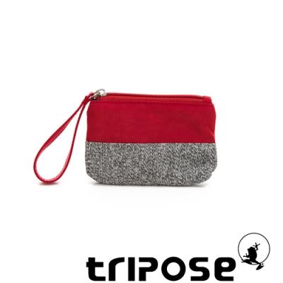 tripose漫遊系列岩紋x微皺尼龍多功能手拎袋(小)紅色