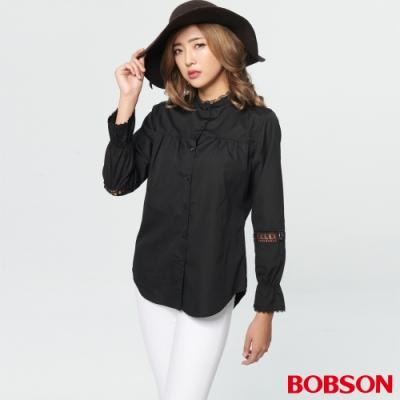 BOBSON 女款黑蕾絲拼接襯衫