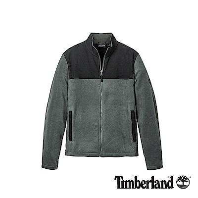 Timberland 男款黑灰色異材質拼接刷毛外套