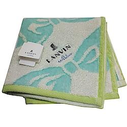 LANVIN en bleu 蝴蝶結圖騰品牌LOGO刺繡小方巾(藍色系/淺綠邊)