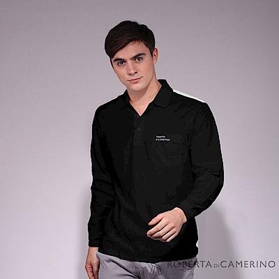 ROBERTA諾貝達 台灣製 運動風尚 合身版 抗UV 純棉長袖POLO衫 黑色